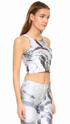 bra blouse crop top terez reversible marble crop top with shelf bra in white