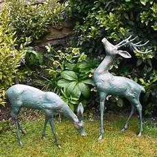 large deer antique bronze statues metal garden ornaments