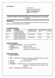 Mechanical Engg Resume Format Standard Resume Format For Mechanical Engineers Pdf