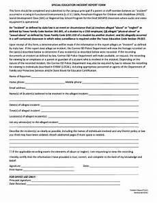 Special Incident Report Form California Fillable Online Special Education Incident Report Form