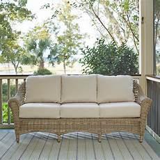 birch lynwood wicker sofa with sunbrella 174 cushions