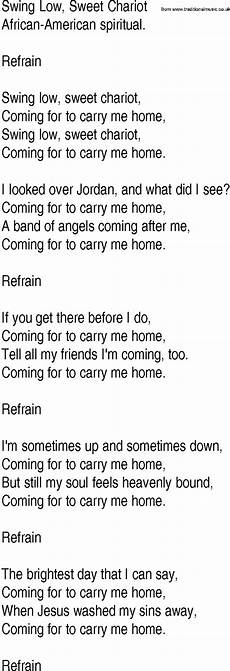 swing low lyrics hymn and gospel song lyrics for swing low sweet chariot