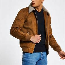 Light Brown Suede Jacket Mens Light Brown Faux Suede Borg Collar Jacket Jackets