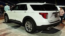 ford platinum 2020 2020 ford explorer platinum in white rear side view