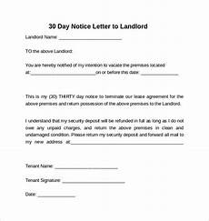 30 Day Notice To Move Out Letter Free 10 Sample 30 Days Notice Letters To Landlord In Pdf