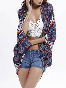 snap front printed batwing sleeve kimono chic337285