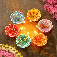 Designer Diyas Colorful Set Of Six Clay Diyas Gift Send Diwali Gifts