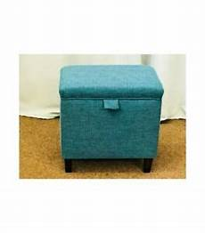 foot stool pouffe teal fabric upholstered ottoman