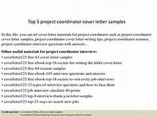 Cover Letter For Project Coordinator Position Top 5 Project Coordinator Cover Letter Samples