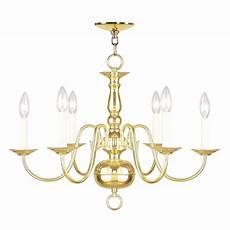 Livex Lighting Chandelier Livex Lighting 6 Light Polished Brass Chandelier 5006 02