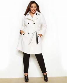 plus trench coats for racing lyst dkny plus size breasted faux leather trim