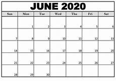Monthly 2020 Calendar Printable Free June 2020 Printable Calendar Monthly On We Heart It