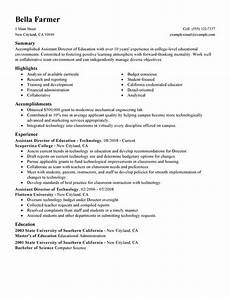 Education Experience Resume Assistant Education Director Resume Examples Created By