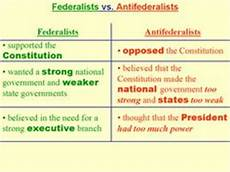 Federalist Vs Anti Federalist Chart 1000 Images About Articles Of Confederation Constitution