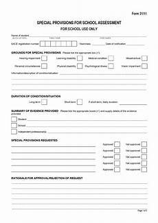 School Forms Templates Special Provisions For School Assessment School
