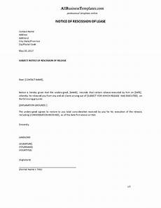 Rescind Letter Sample Notice Of Rescission Of Lease Example Formal Templates