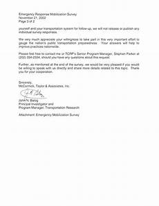 Cover Letter For Survey Appendix A Emergency Mobilization Survey Cover Letter