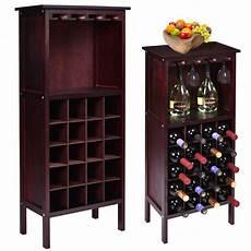 new wood wine cabinet bottle holder storage w glass rack