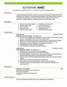 Resume Sample Education Best Lead Educator Resume Example Livecareer