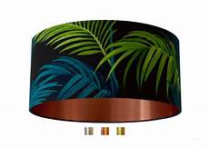 Palm Leaf Light Shade Tropical Palm Leaf Green Teal On Black With Copper Gold Or