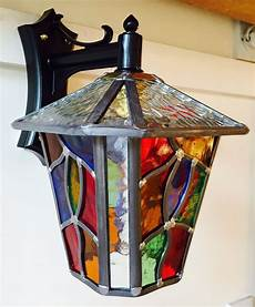 Coloured Outdoor Lantern Lights Leaded Outdoor Lantern Stained Glass Multi Coloured