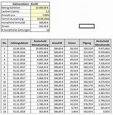 darlehensrechner excel vorlage rechnen vorlagen