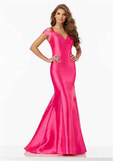 larissa satin prom dress with ruffled skirt style 99007