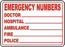 Emergency Contact Sign Emergency Phone Numbers Label D4631 By Safetysign Com