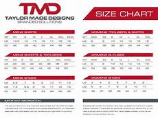 Size Chart Taylor Made Designs