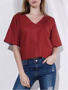 half sleeve blouse color plunging neck half sleeve blouse blouses m