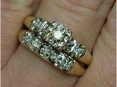 Vintage Wedding Rings Set: Tudor Rose Illusion Head