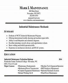 Maintenance Technician Resume Sample Sample Maintenance Technician Resume 9 Examples In Word