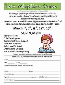 Babysitter Sign Up Lane Memorial Library Blog