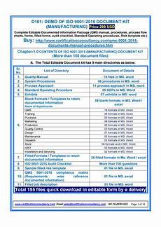Demo Of Iso 9001 2015 Document Kit Manufacturing By