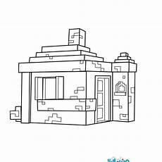 house coloring page from minecraft more