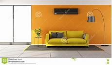 Air Sofa Yellow Blue 3d Image by Orange Living Room With Air Conditioner Stock Illustration