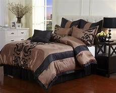 silky brown black cal king comforter set floral bedding