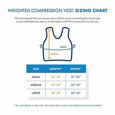 Vest Size Chart Weighted Compression Vest Sizing Chart