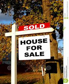 How To Sale Real Estate Real Estate Sold And House For Sale Sign On Post Stock