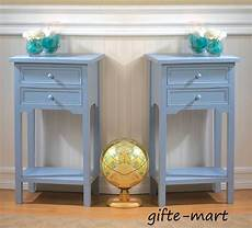 2 set blue wood 16 quot square end side table shabby bedside