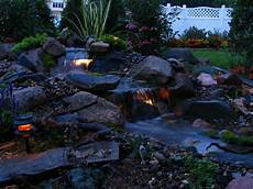 Solar Waterfall Lights Pond Pictures Waterfalls Evening Waterfall Lights