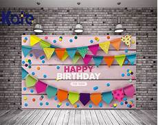 Colorful Happy Birthday Banner Happy Birthday Theme Kate Photo Backdrop Wood Wall