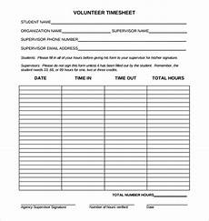 Volunteer Tracking Form Template 18 Volunteer Timesheet Templates Free Sample Example