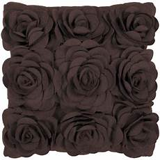 Sofa Pillows Decorative Sets Brown 3d Image by 18 Quot Espresso Brown Dimensional Applique Roses Decorative