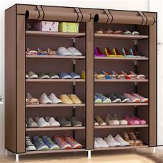 rows large shoes storage cabinet non woven cloth