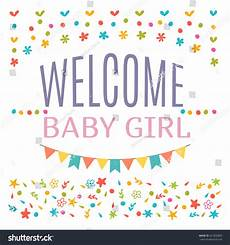 Welcome Baby Girl Welcome Baby Girl Shower Card Arrival Stock Vector