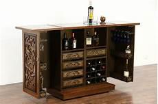 teak marble carved vintage bar cabinet folding