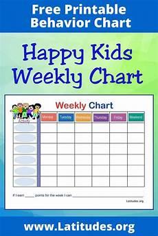Behavior Chart For Adults Free Weekly Behavior Chart Happy Kids Acn Latitudes