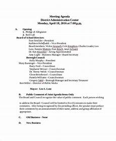 How To Write An Agenda For A Board Meeting Sample School Agenda 7 Documents In Pdf Word