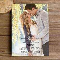 Wedding Invitation Card With Photo Romantic Engagement Photo Wedding Invitations With Free